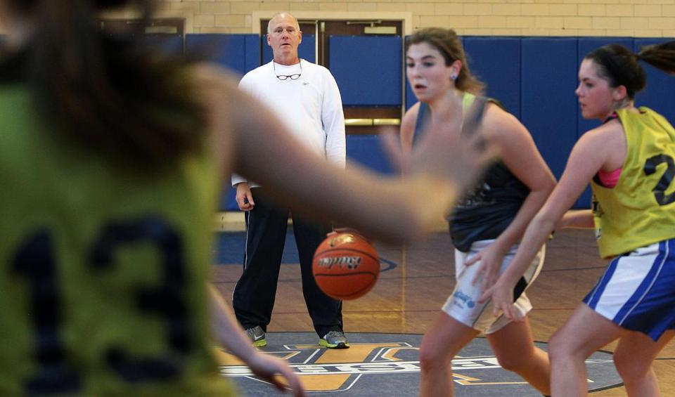 Archbishop Williams girls' basketball coach Jim Bancroft has confidence in his young team, including juniors Olivia Conrad (center, above) and Leah Spencer (below from left), sophomore Jaylen Williams, and senior captain Sara Ryan.
