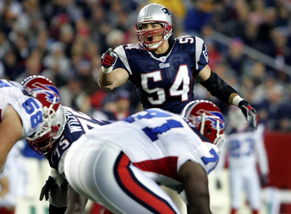 Tedy Bruschi returned and was at the center of the Patriots defense against the Bills.