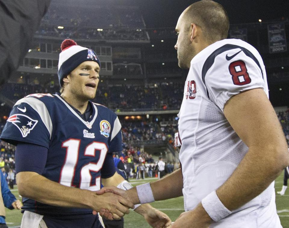 Tom Brady (12) showed his experience Monday night, Matt Schaub his lack of it.