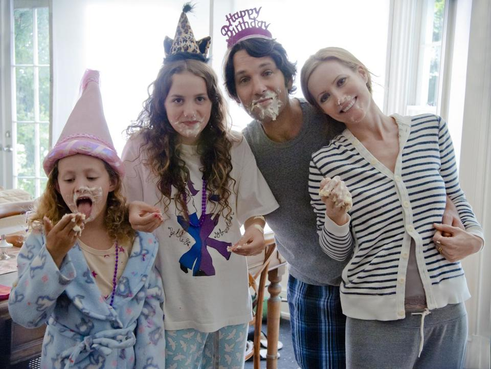 "From left: Iris and Maude Apatow, Paul Rudd, and Leslie Mann in ""This Is 40."""