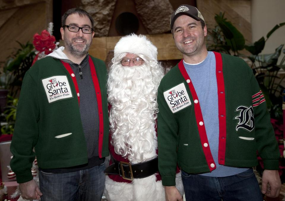 Fred Toettcher and Rich Shertenlieb of 98.5's Toucher & Rich show helped at Copley Place.