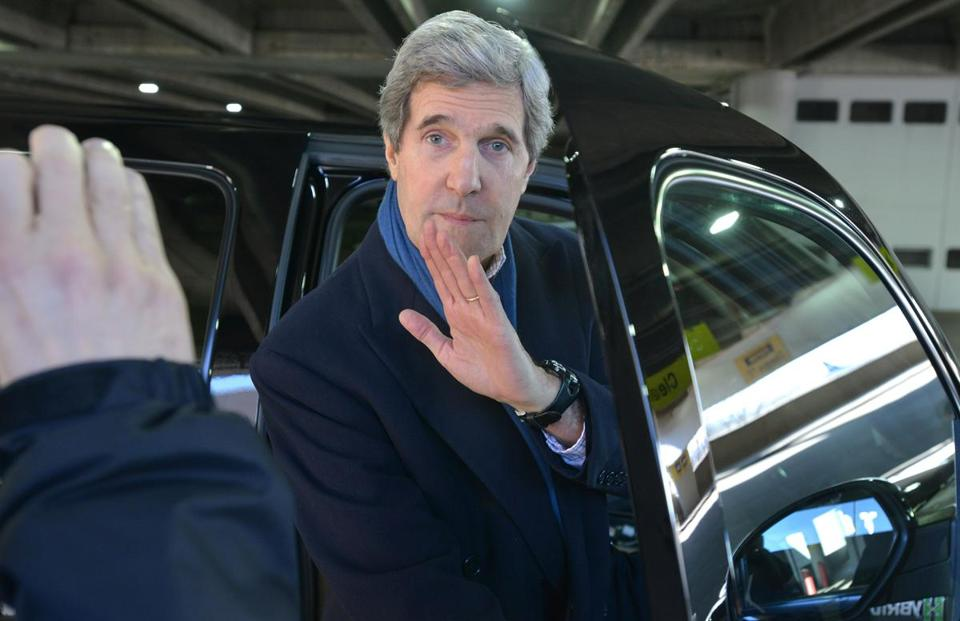 Senator John F. Kerry got into his car at Logan International Airport today without commenting on the possibility President Obama will tap him for secretary of state.