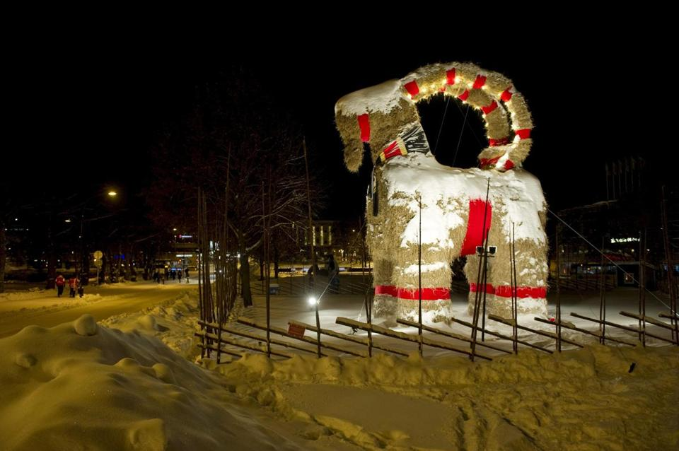 The Swedish Yule Goat, made of straw, stood in the town of Gavle, Sweden, before vandals reduced it to ash overnight.