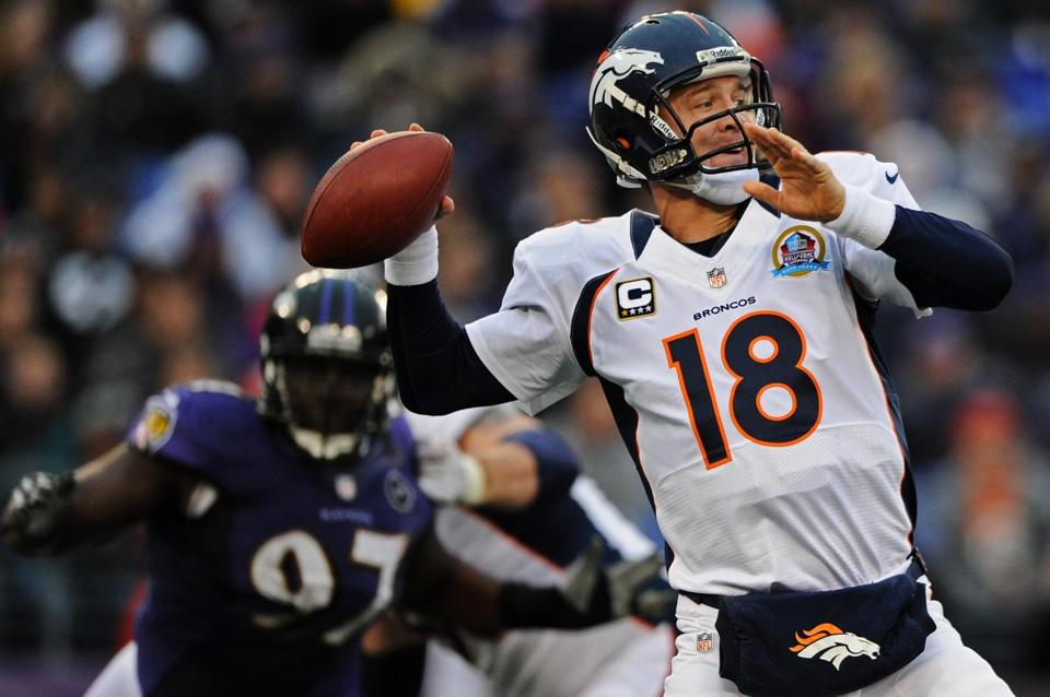 Peyton Manning threw for 204 yards against the Ravens.