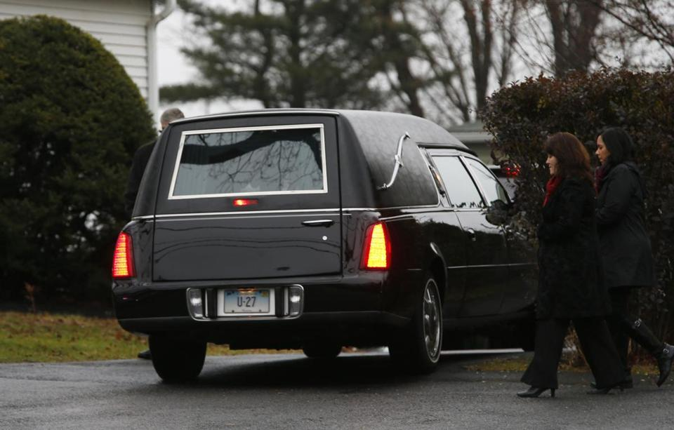 A hearse arrived at Honan Funeral Home as the family of six-year-old Jack Pinto arrived for his funeral service in Newtown, Conn. Pinto was one of the 20 schoolchildren killed in the December 14 shootings at Sandy Hook Elementary.