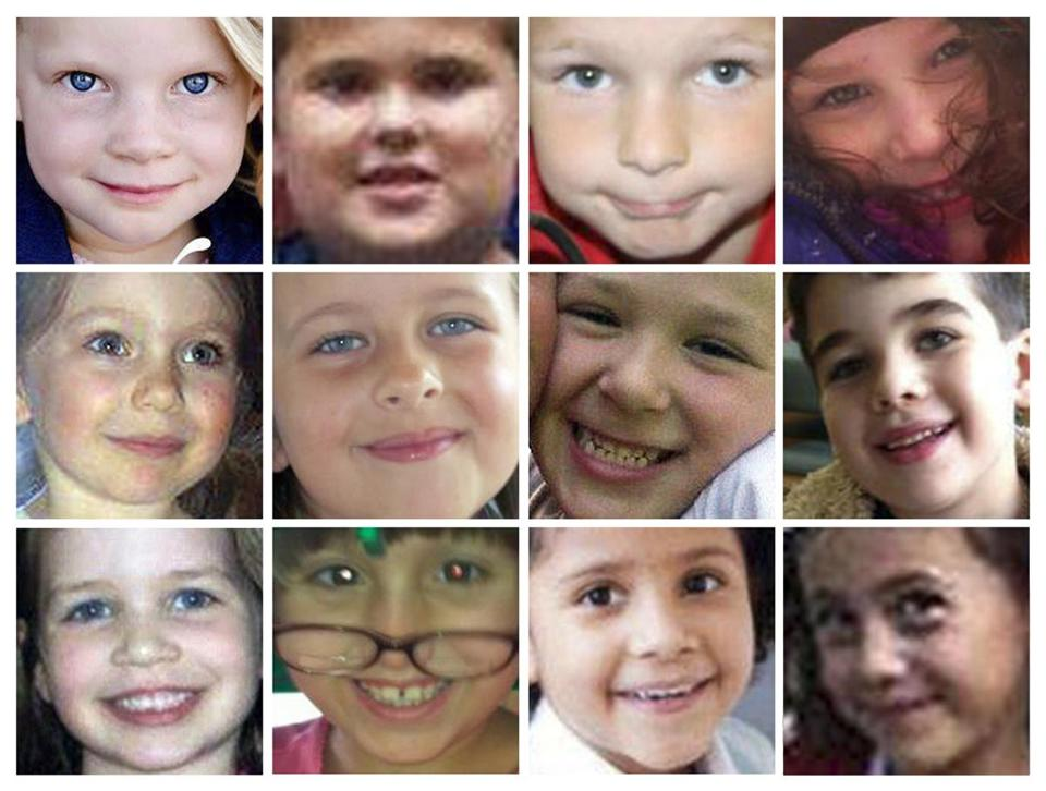 Twelve of 20 children killed at Sandy Hook Elementary School in Newtown, Conn. Dec. 14 In the top row, from left to right, are Emilie Parker, James Mattioli, Chase Kowalski and Charlotte Bacon; Middle row: Olivia Engel, Grace McDonnell, Jesse Lewis and Noah Pozner; Bottom row: Jessica Rekos, Josephine Gay, Ana Marquez-Greene and Avielle Richman.