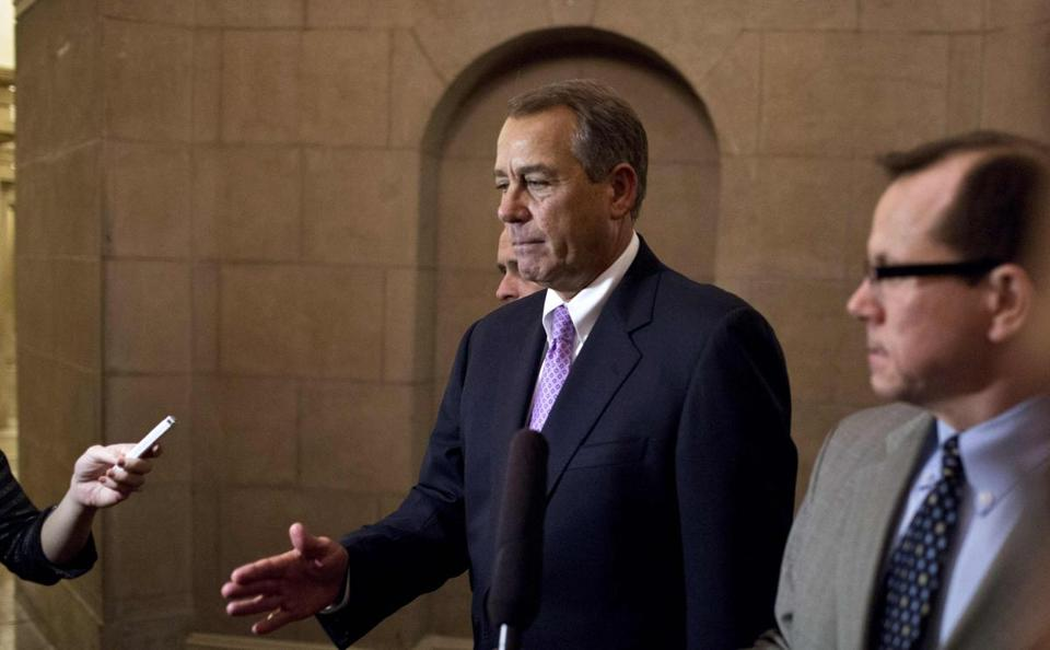 US House Speaker John Boehner walked to his office in the US Capitol after meeting with President Obama at the White House on Monday.