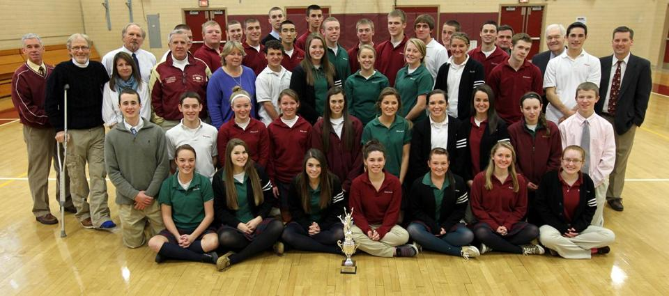 The talented student athletes and staff of Cardinal Spellman High School pose with the Nason Award.