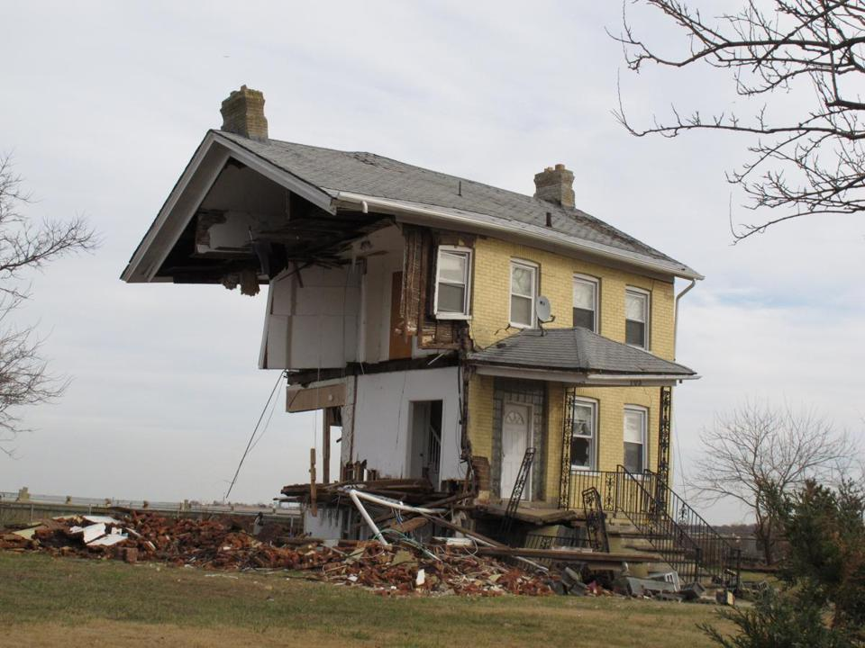 A house on Raritan Bay in Union Beach N.J. was torn in half when Hurricane Sandy hit the East Coast in late October.