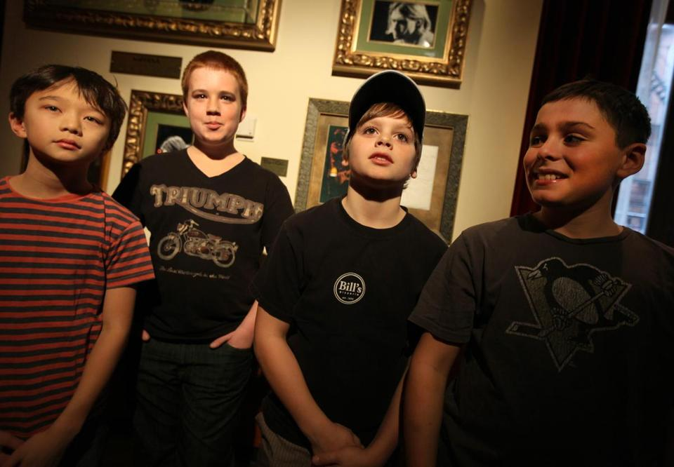 The four-members of Replay — (from left) Aidan Connerly, Jack Wanty, George Egan, and Charlie Egan — performed in the Hard Rock Cafe's Youth Battle of the Bands.
