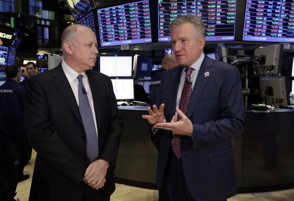 IntercontinentalExchange Chairman Jeffrey C. Sprecher (left) would keep that role in the new operation while NYSE Euronext's chief, Duncan L. Niederauer, would be president.