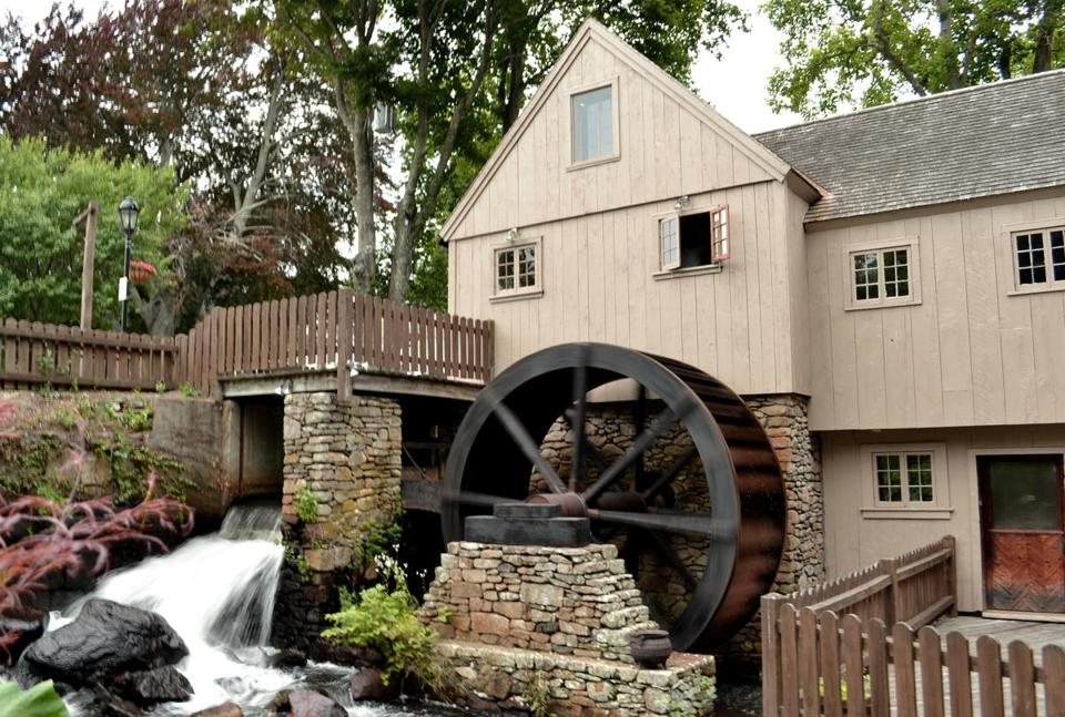 The reproduction of the 17th-century Jenney Grist Mill in Plymouth shows how corn was ground into flour.