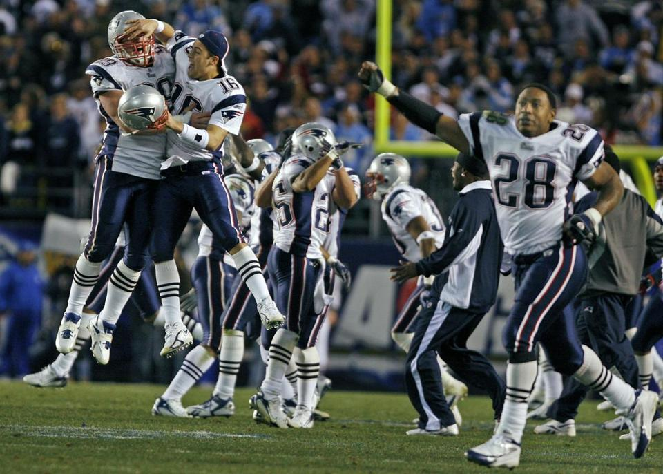 Patriots players celebrated after Nate Kaeding's 54-yard field goal attempt in the final seconds went far right.