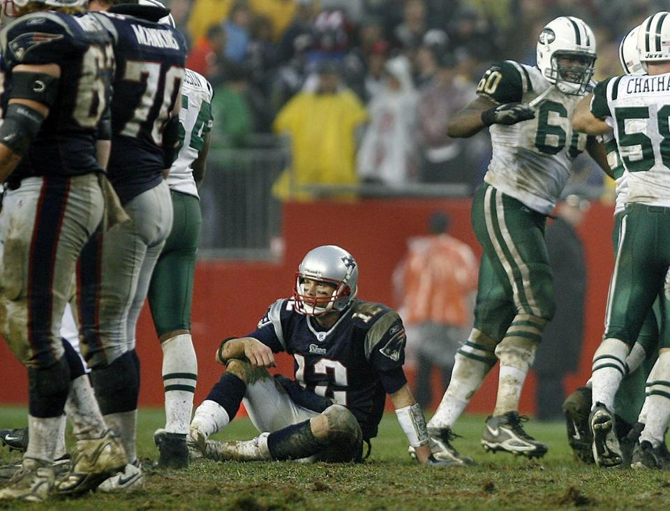 Tom Brady was pressured consistently by a Jets defense that did not allow him to find a rhythm.