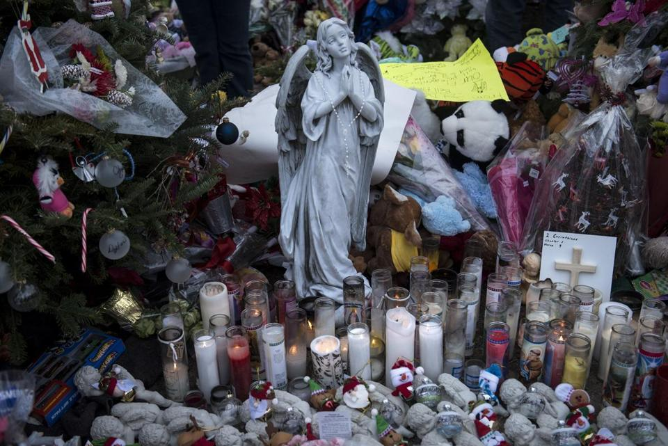 A view of a memorial in Newtown, Conn., on Dec. 20.
