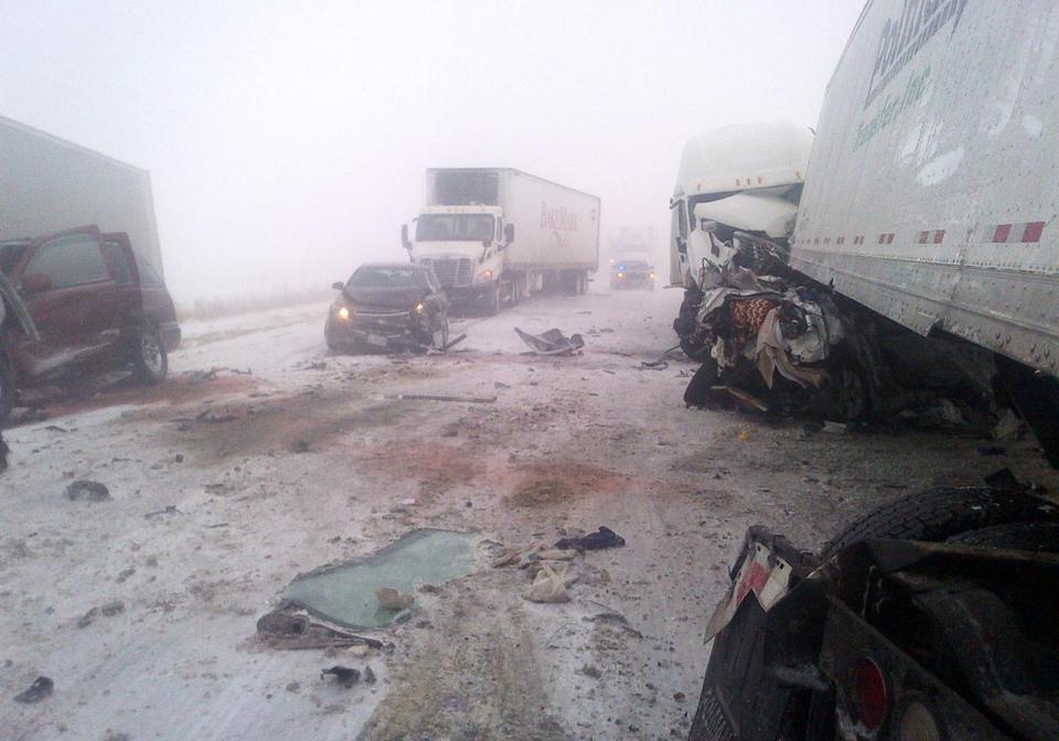 A 25-vehicle crash north of Des Moines left two people dead. Police said drivers were blinded in blowing snow.