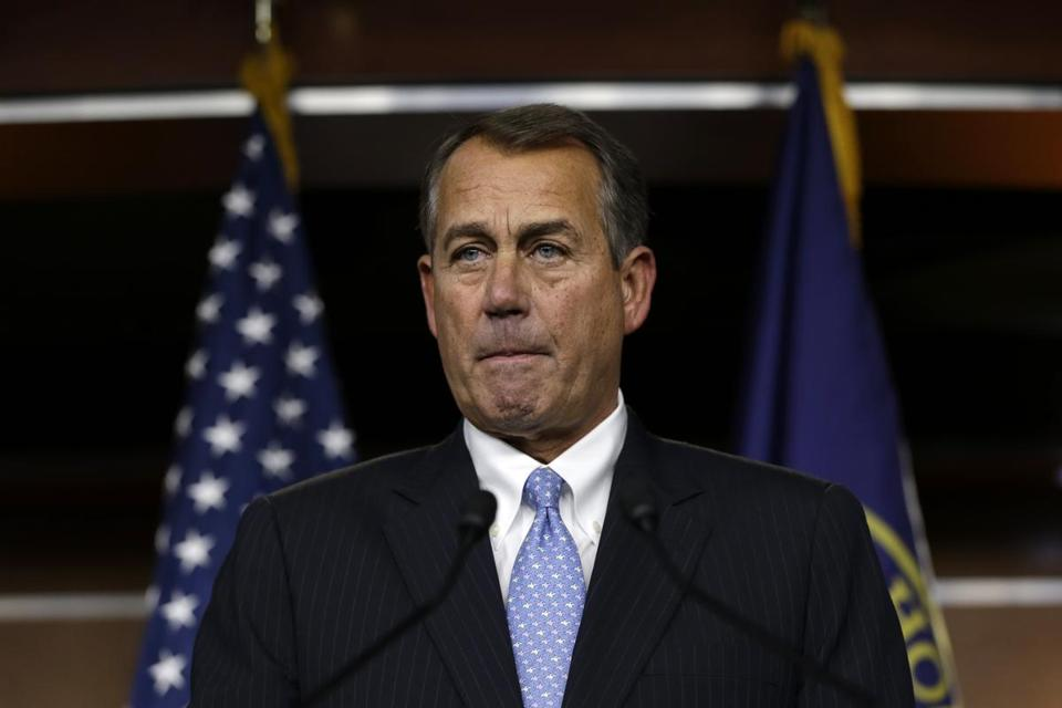House Speaker John Boehner, R-Ohio, paused during a news conference on fiscal cliff on Capitol Hill in Washington on Thursday.