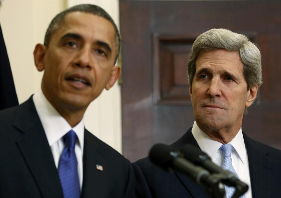 John Kerry listens as President Obama announces his nomination as secretary of state.