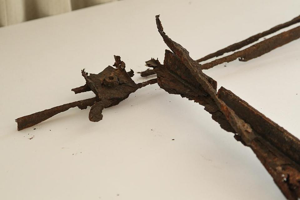 A sample of the corroded framework that held panels in the Callahan Tunnel.