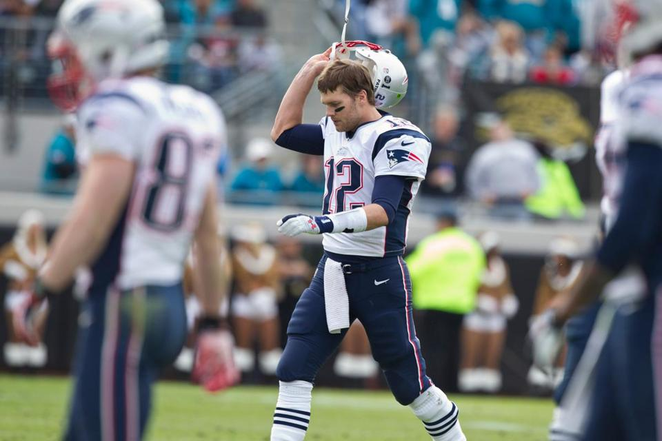 Tom Brady isn't pleased after throwing his second interception of the game, and he didn't get much happier.