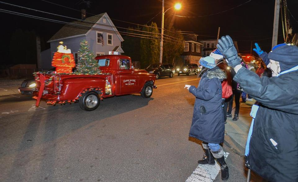 The Christmas Eve parade proceeded through Boston Street in Lynn. The parade route stretches 22 miles.