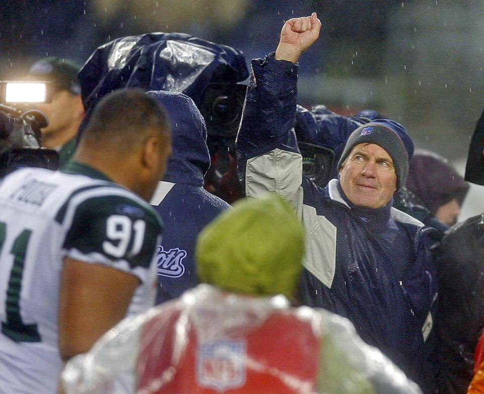 Patriots coach Bill Belichick saluted fans after recording a win against the archrival Jets.
