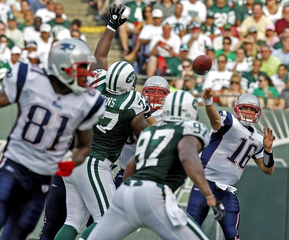 Matt Cassel was 16-for-23 for 165 yards with no interceptions or touchdown passes against the Jets.