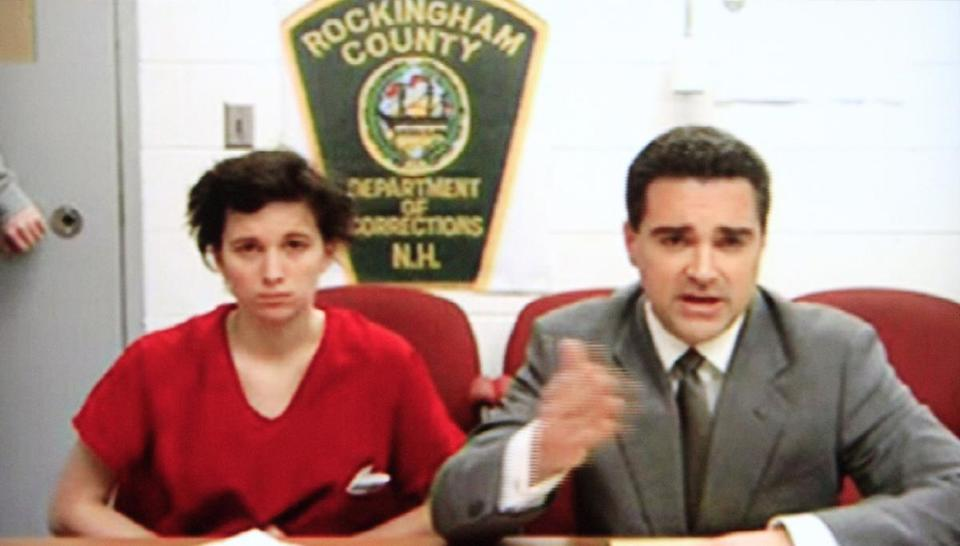 Kathryn McDonough (left) appeared in her video arraignment. At top right is Seth J. Mazzaglia, reported to be a suspect in the murder of Elizabeth Marriott (bottom right).