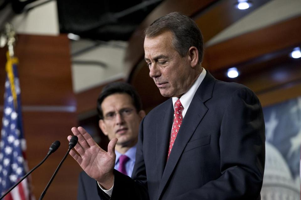 House Speaker John Boehner, joined by House majority leader Eric Cantor, spoke om Friday to reporters about the fiscal cliff negotiations.