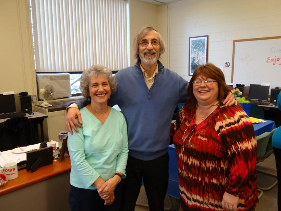Reading specialist Gene Wintner, with his wife, Sharon (left), and adjunct faculty member Shannon Leate-Varney.