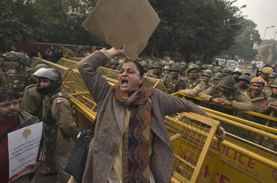 Several hundred people gathered in New Delhi on Thursday in a bid to rekindle mass protests sparked by a gang rape.