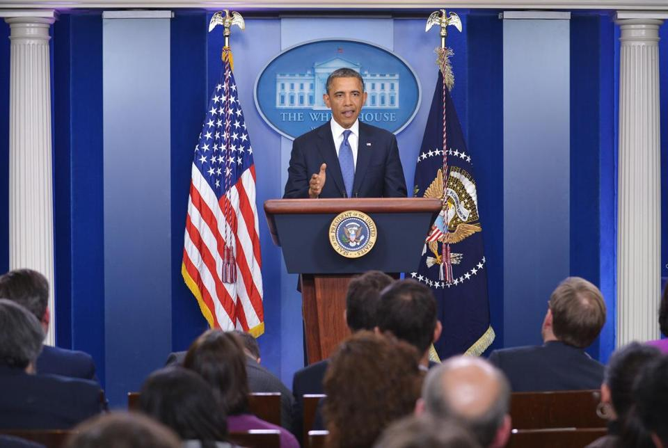 US President Barack Obama spoke following a meeting with congressional leaders in the Brady Briefing Room of the White House Friday.