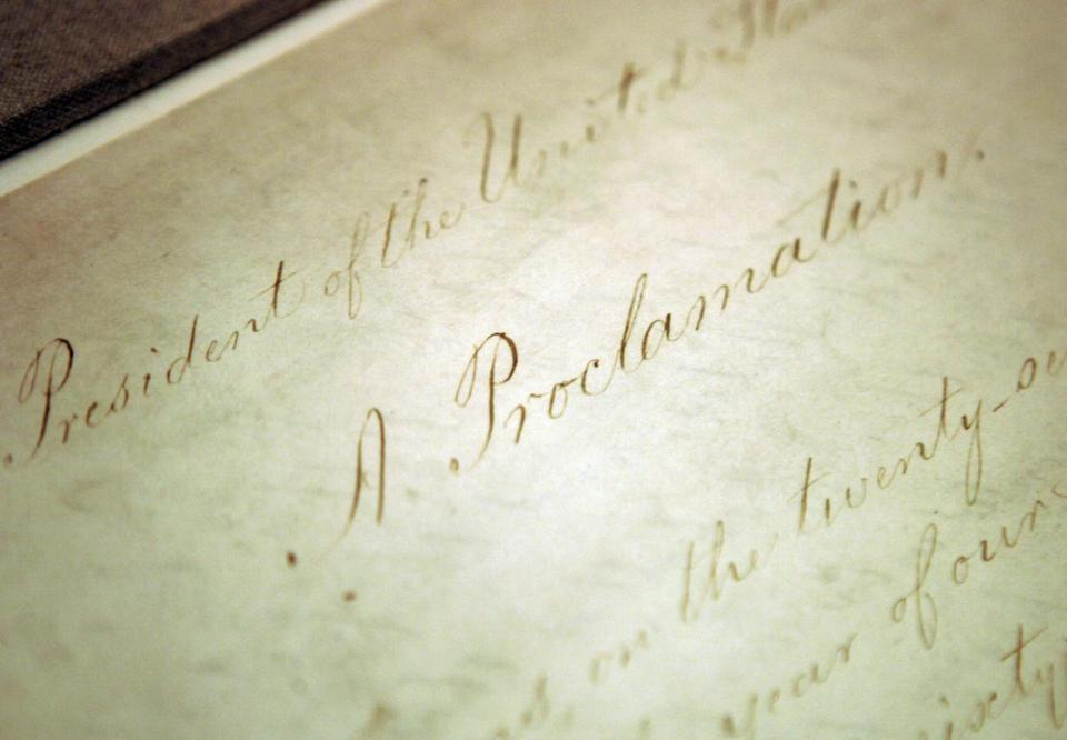 The official document bears Lincoln's signature and the United States seal, setting it apart from copies and drafts. It will make a rare public appearance from Sunday to Tuesday.