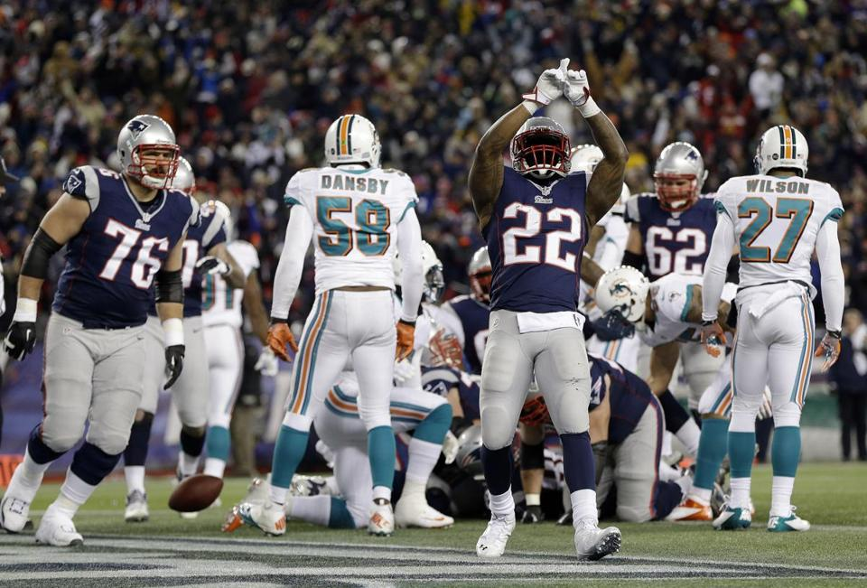 Stevan Ridley scored two of the Patriots' three touchdowns in the first half.