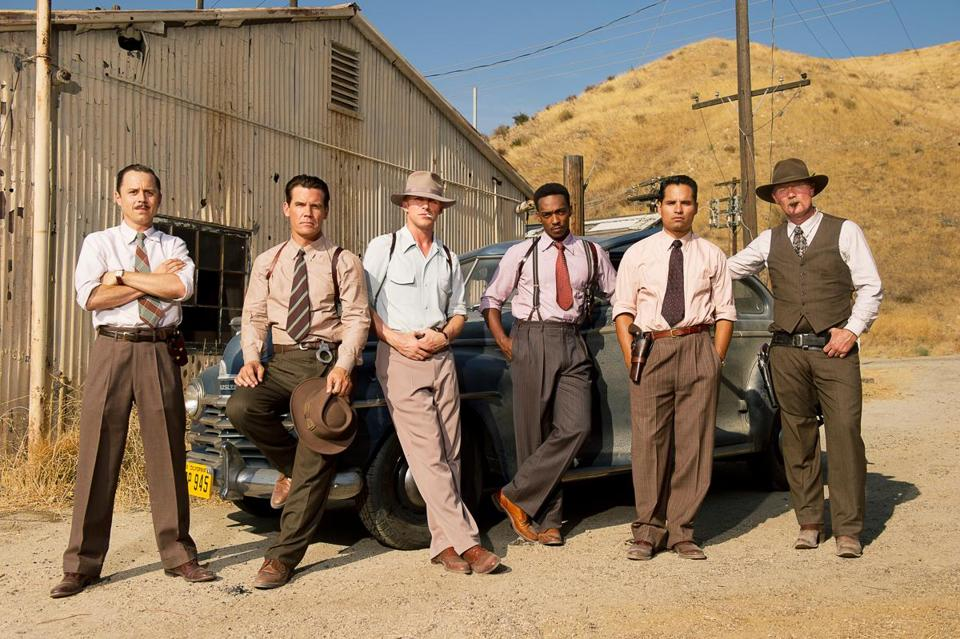 From left: Giovanni Ribisi, Josh Brolin, Ryan Gosling, Anthony Mackie, Michael Peña, and Robert Patrick play LAPD officers called the Gangster Squad.