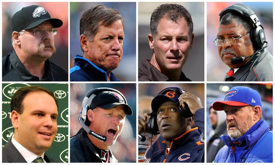 Among those dismissed were (top, L-R) Andy Reid, Norv Turner, Pat Shurmur, Romeo Crennel; (bottom, L-R) Mike Tannenbaum, KenWhisenhunt, Lovie Smith and Chan Gailey.