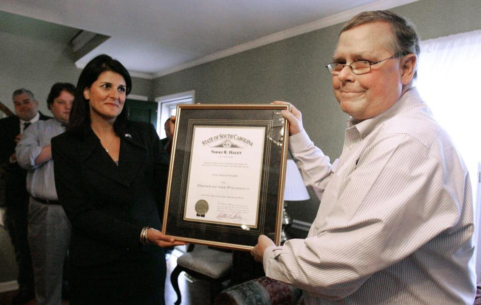 Jim Davenport received The Order of the Palmetto from Governor Nikki Haley of South Carolina in October.