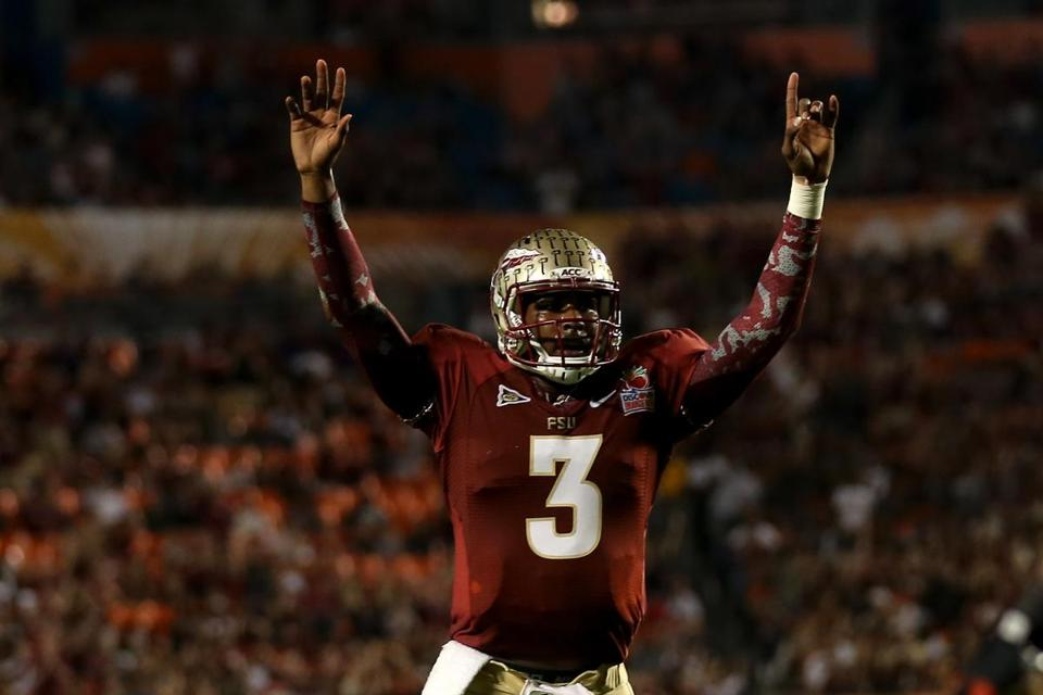 Florida State's EJ Manuel celebrates a touchdown pass, and his fourth career bowl victory.