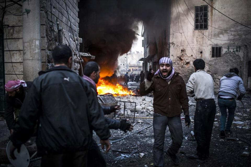 The violence in Aleppo, Syria, continued to escalate on Thursday, with missiles damaging a number of houses.