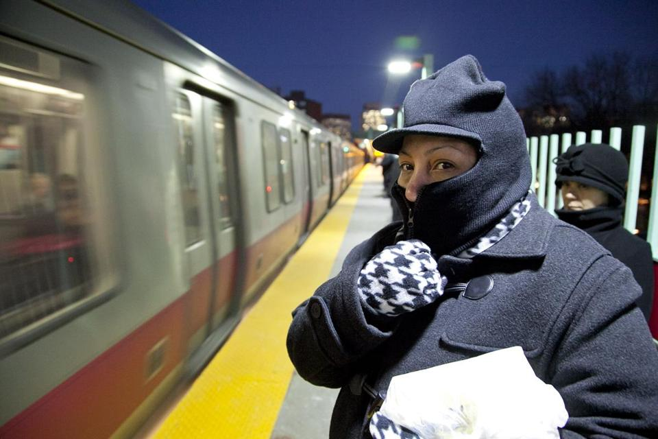 Kathleen Rivera of Dorchester, shown on the MGH Station platform, said trains were running slow Thursday morning.