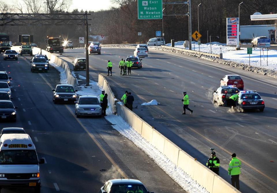 A person apparently trying to cross Route 128 in Newton may have been struck and killed by a vehicle this morning.