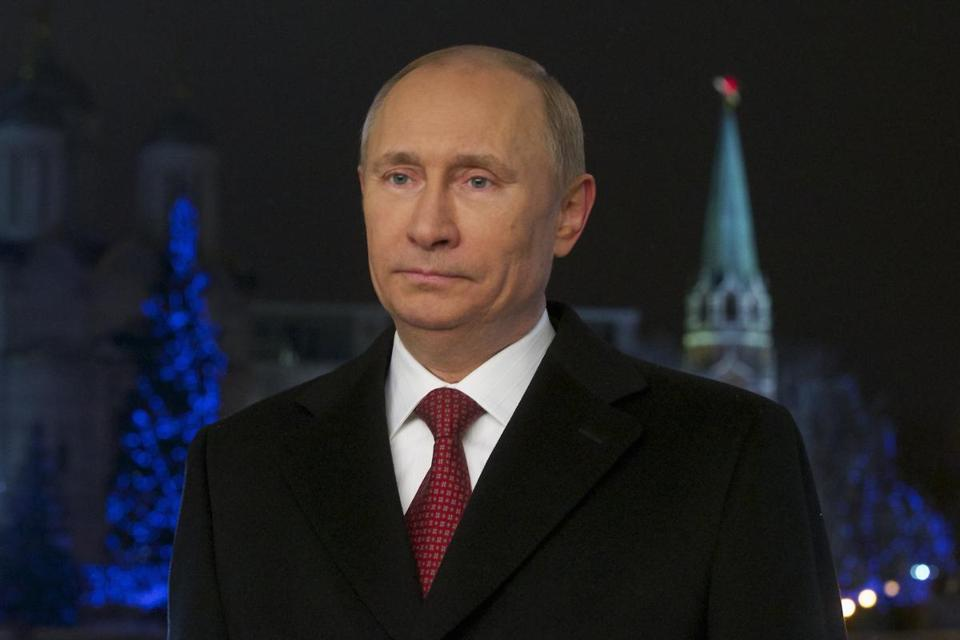 Russian President Vladimir Putin looked on during the recording of the traditional televised New Year's address to the nation in Moscow, December 27, 2012.