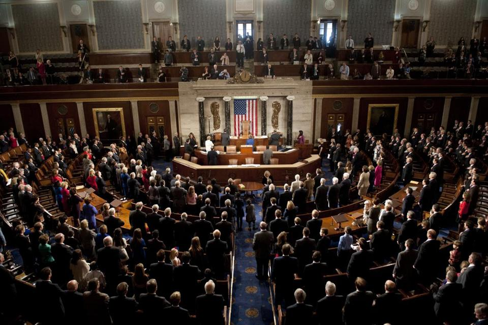 Members of the 113th US House of Representatives recited the Pledge of Allegience during the opening session.