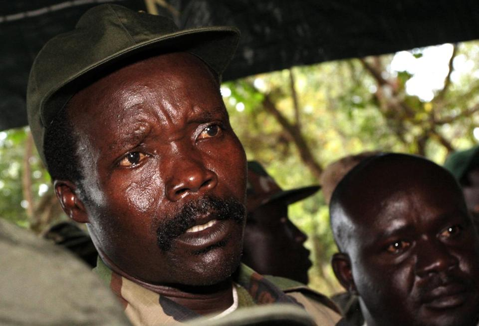 In this Nov. 12, 2006 photo, the leader of the Lord's Resistance Army, Joseph Kony, answered journalists' questions following a meeting with UN humanitarian chief Jan Egeland at Ri-Kwangba in southern Sudan.