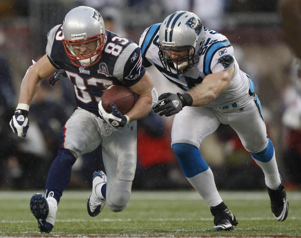 Wes Welker caught 10 passes for 105 yards against the Panthers.