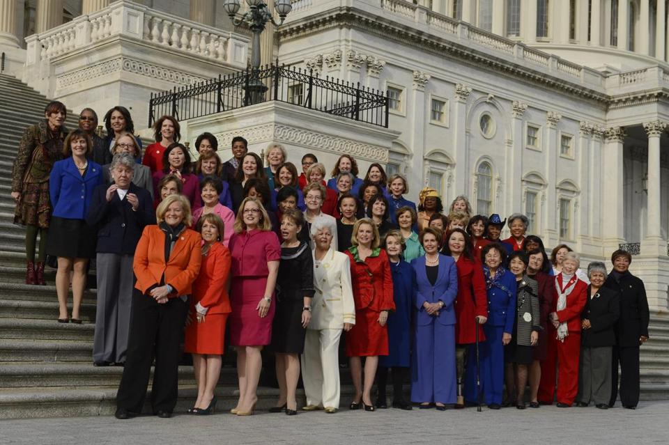 Democratic women in the newly seated Congress pose for a picture on the steps of the Capitol last week.