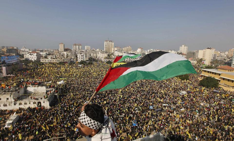 Thousands turned out in Gaza City on Friday for a rally marking the Fatah movement's anniversary.