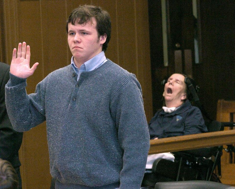William Senne pleaded guilty in 2005, at age 20, after a drunken driving accident that seriously injured state Trooper Ellen Engelhardt (background), and served 2½ years in prison.