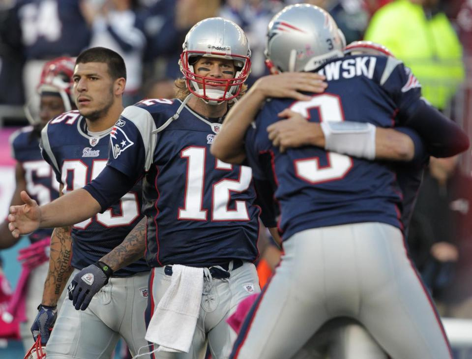 Tom Brady was set to congratulate kicker Stephen Gostkowski after his field goal in overtime won the game for the Patriots.