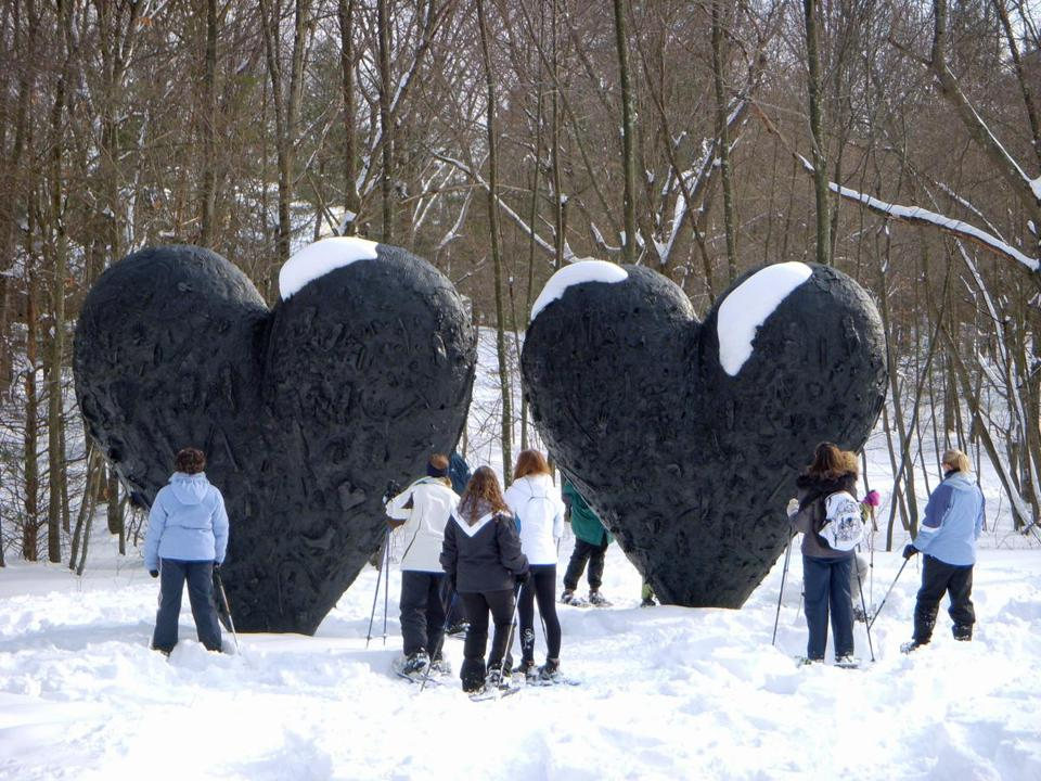 "Jim Dine's bronze ""Two Big Black Hearts,"" with its incorporated casts of various objects, brings observers to a snowy standstill."